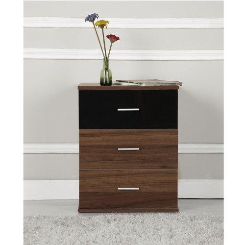 Homcom 3 Drawer Bedside Table Cabinet Chest Storage Bedroom Furniture High Gloss