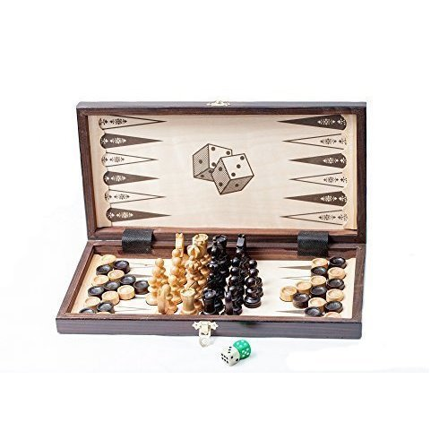 "14"" 3 in 1 - Cherry Wooden Chess Backgammon Draughts SET"