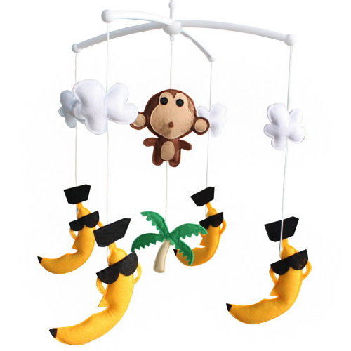 Wind-up Crib Mobile, Baby Hanging Toys, [Monkey and Tropical Scenery]