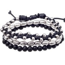 Urban Male 'Metro' Black & Silver Bead & Cord Bracelet Set for Men
