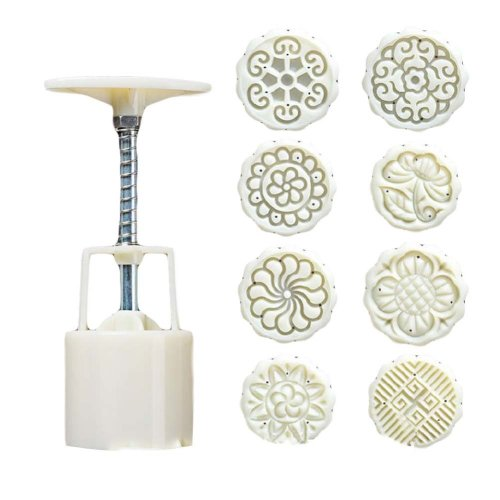 8 Stamps Plastic Baking Molds Round Cake Mold Moon Cake Mold 50G