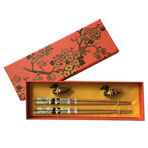 Chopsticks Reusable Set - Asian-style Natural Wooden Chop Stick Set with Case as Present Gift,U
