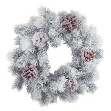 40cm Traditional Fir Christmas Wreath Decoration with Snow Effect and Pine Cones