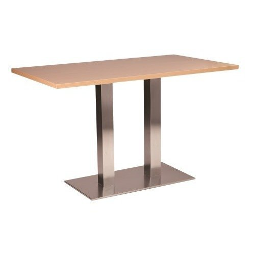 Daniella Stainless Steel Dining Table - Twin Base Rectangular with Various Top Sizes and Colours White 700 X 1200(+60) Made to Measure Double Column