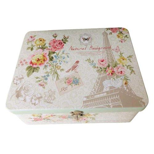 Small Fresh Safe Lock Box Storage/Jewelry Box Desktop Iron Box-A1