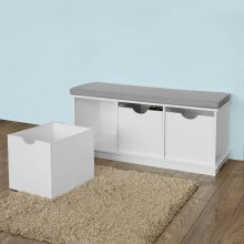 SoBuy® FSR30-W, Storage Bench with 3 Drawers & Removable Seat Cushion