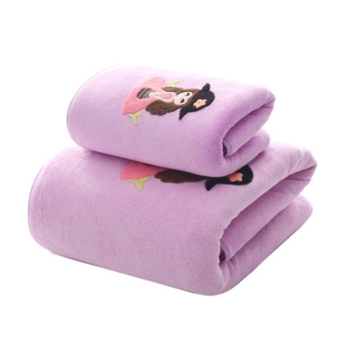 Soft Fiber Bath Towel Set Absorbent for Bathroom Beach Sport,Purple girl, Set of 2