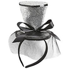 Silver Glitter Mini Top Hat Headband -  mini cylinder hat burlesque silver miniature fascinator
