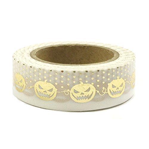 Wrapables Colorful Patterns Washi Masking Tape Jack O Lanterns Gold