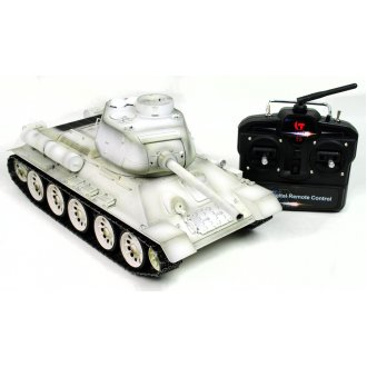 Taigen Hand Painted Metal RC Tank T34 White Winter Camo 360 Turret