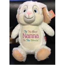 Soft White Rabbit Teddy Bear Embroidered Message, Name or Birth Date