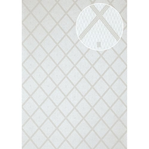 Atlas PRI-560-1 Graphic wallpaper shimmering white silk-grey 5.33 sqm