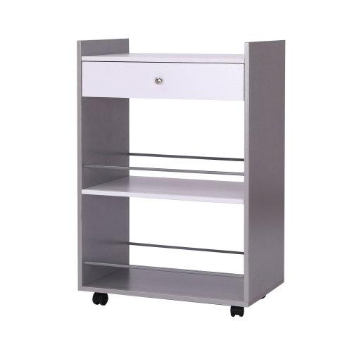 Homcom Kitchen Trolley Cart Wooden 2 Shelves Storage w/ Drawer on Wheels
