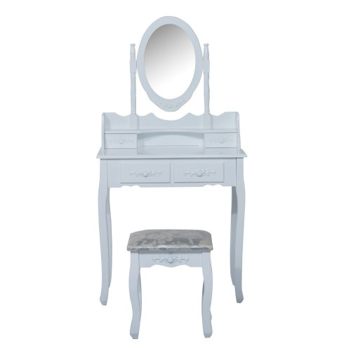 Homcom Dressing Table Set Desk Mirror Stool Furniture Cosmetic Storage White