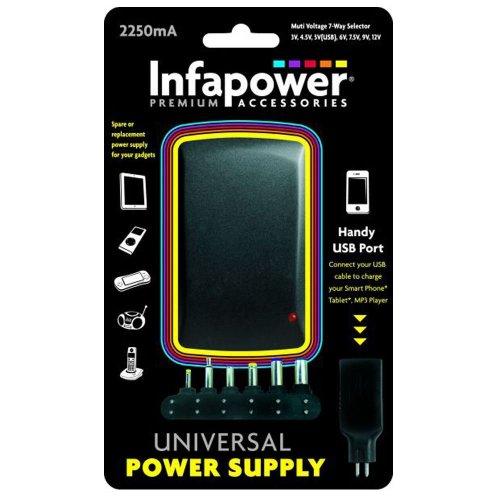 Infapower P004 Handy 2250mA 7-Way Universal Power Supply AC/DC USB Adaptor