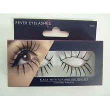 Women's Black Gothic Eyelashes -  eyelashes black dress fancy top bottom set false smiffys halloween dolly