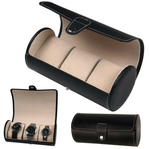 3 Slot Watch Box Travel Case Wrist Roll Jewelry Storage Collector Organizer UK
