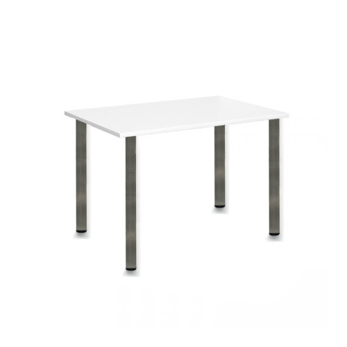 Computer Desk Office Dining Table Workstation Br Chrome Legs Square White Top 120x80cm