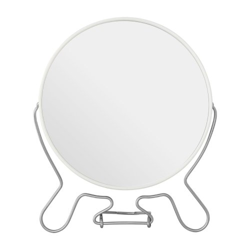 White Metal Swivel Shaving Mirror With Double Magnification