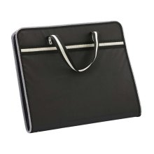 A4 Multilayer Portable Zipper File Pocket Student Papers Briefcase-Black