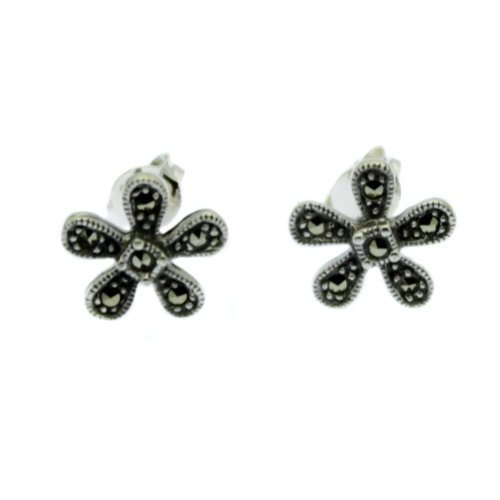 Marcasite Earrings Daisy Design - Sterling Silver with Marcasite Inlay
