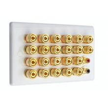 White Slimline 11.2 Speaker Wall Plate - 22 Terminals + 2 x RCA's - Rear Solder tab Connections