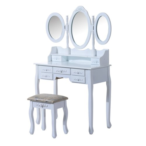 Homcom Dressing Table with Drawers, Mirrors & Stool