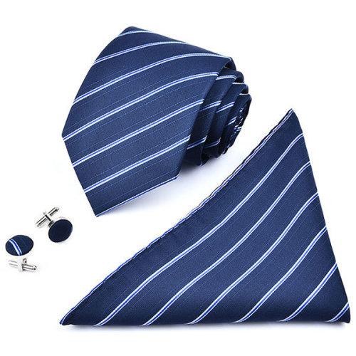 Men Business Ties pocket Square Cufflinks Wedding Jacquard Stripes Ties