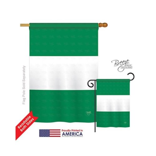 Breeze Decor 08219 Nigeria 2-Sided Vertical Impression House Flag - 28 x 40 in.