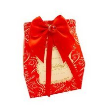 Set of 10 Wedding Festival Candy Bag/Chocolate Box/Gift Carrier [Red Bow]