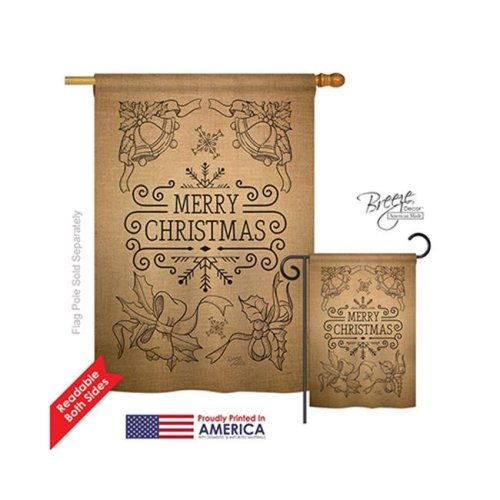 Breeze Decor 14113 Christmas Merry Christmas Bells Burlap 2-Sided Vertical Impression House Flag - 28 x 40 in.