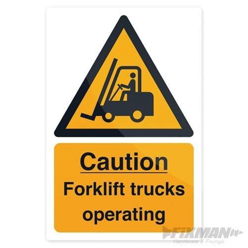 Fixman Caution Forklift Trucks Sign 200 x 300mm Rigid - Caution Forklift Trucks -  caution forklift trucks x 300mm rigid sign 200 fixman 469334