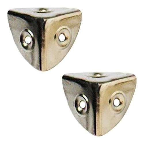 Bulk Hardware BH03646 28mm (1.1/8 inch) Nickel Plated Case Corners  - Pack of 4