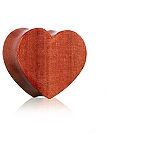 Red Cherry Wood Heart Hand Carved Organic Saddle Plug Flesh Tunnel Ear Gauge