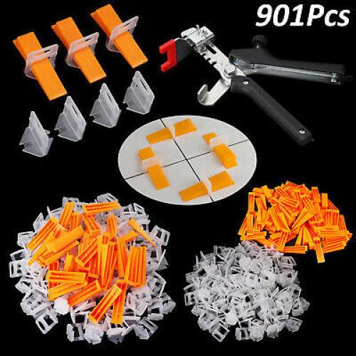 901Pcs Tile Leveling Spacer System Clips&Wedges&Plier Tool Tiling Flooring Set