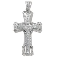 Mens Sterling Silver Bling Cross Pendant On A Black Leather Cord Necklace