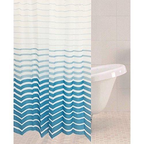 Sabichi Azul Stripe Polyester Shower Curtain - Blue 180 x 180cm 179449 Bathroom -  sabichi azul stripe polyester shower curtain blue 180 x 180cm