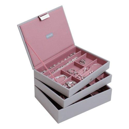 Stackers Set Of Three Dove Grey Jewellery Box Travelling Case Jewelry Storage