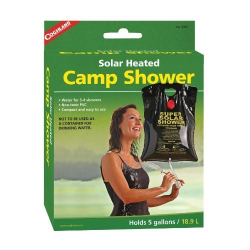 Coghlans Solar Heated Camp Shower, 5-Gallon, Black