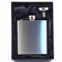6oz Stainless Steel Hip Flask & Funnel Gift Set - FREE ENGRAVING