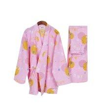 Rabbit Pattern Simple Cotton Thick Pajamas Women Pajamas Suit  Bathrobe,Pink