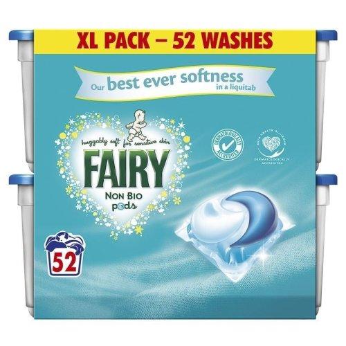 Fairy XL 52 Pack Non-Bio Pods Liquitabs Laundry Detergent Wash Capsule Sensitive