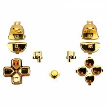ZedLabz replacement trigger, action, d-pad & option / share button set mod kit for Sony PS4 Pro JDM-040 controllers - Chrome gold
