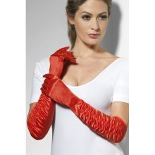 Red Long Temptress Gloves -  gloves long dress fancy temptress red ladies burlesque smiffys satin 20s sexy