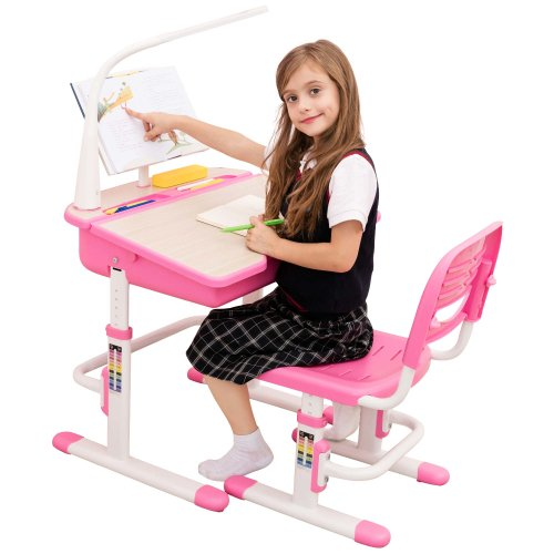 Pleasant Height Adjustable Kids Study Desk Chair With Lamp Chacha Gmtry Best Dining Table And Chair Ideas Images Gmtryco