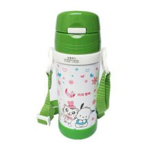 Lovely Stainless Steel Drink Bottle With Straw, Green/White