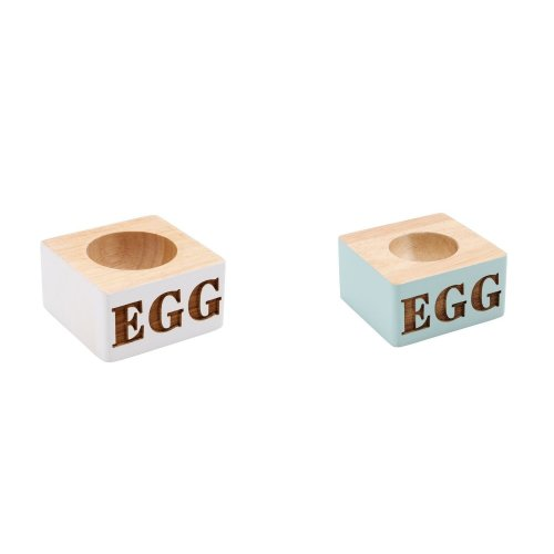 "Solid Painted Wood Etched ""EGG"" Egg Cup"