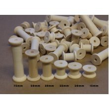 70 Wooden Bobbins Spools Assorted Sizes Natural Wood Includes 75mm Bobbins