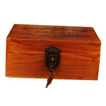 Creative Woody Retro Safe Lock Box Desktop Cosmetics Box Jewelry Box-R/W