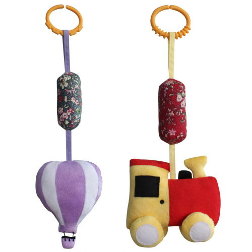 Baby Crib & Stroller Toys, Set of 2, [Train & Hot-air Balloon]